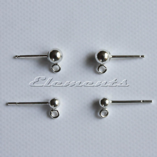Sterling Silver Bead & Open Loop Earring Fittings